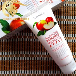 Tẩy da chết làm trắng da farm stay all in one whitening pelling gel apple